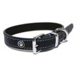 Luxury leather halsband hond leer luxe zwart (1,3X25-36 CM)