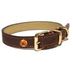 Luxury leather halsband hond leer luxe bruin (1,3X25-36 CM)