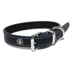 Luxury leather halsband hond leer luxe zwart (3,8X46-56 CM)