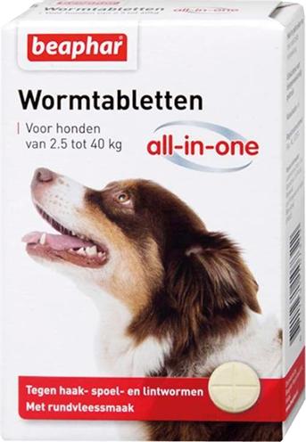 Beaphar wormtablet all-in-one hond (2,5-40 KG 4 TBL)