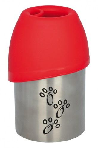 Trixie drinkfles rvs met plastic drinkbakje assorti (300 ML)