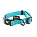 Martin sellier halsband nylon turquoise verstelbaar (16 MMX30-45 CM)