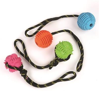 Happy pet atomic bal aan touw assorti (35X7X7 CM)