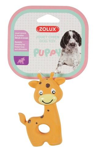 Zolux puppyspeelgoed latex giraffe oranje