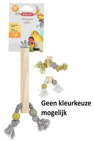 Zolux zitstok hout met touw assorti (2X1,5X17 CM)