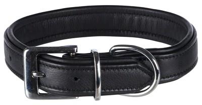 Trixie halsband hond active comfort leer zwart (36-43X3 CM)