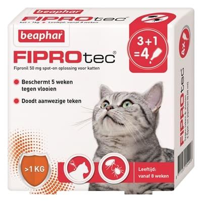 Beaphar fiprotec kat tegen vlooien & teken (3+1 PIPET >1 KG EN 8 WEKEN)