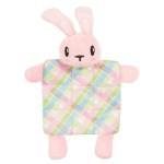 Zolux puppyspeelgoed konijn plush plaid crinklestof roze (17,5X3X20 CM)