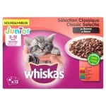 Whiskas multipack pouch junior classic selectie vlees in saus (4X12X100 GR)