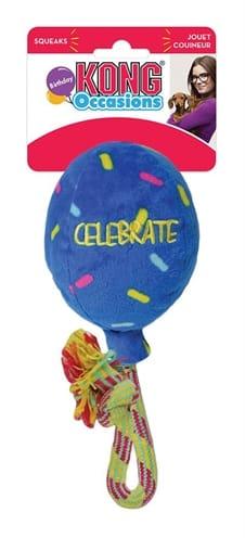 Kong occasions birthday balloon blauw (11,5X11,5X19,5 CM)