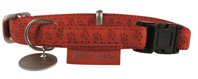 Macleather halsband rood (15 MMX20-40 CM)