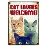 Plenty gifts waakbord blik cat lovers welcome (15X21 CM)