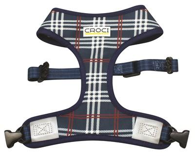 Croci hondentuig cambridge tweezijdig ruit / visgraat blauw / rood (48-75 CM)