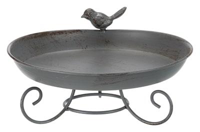 Trixie vogelbad metaal op voet grijs (22X22 CM 800 ML)