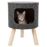 Trixie kattenmand poef senta vilt antraciet (38X38X50 CM)