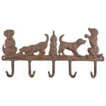 Hanger 5 honden gietijzer (35,5X2,5X17,5 CM)