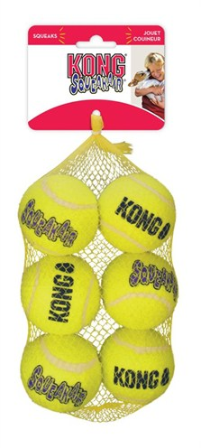 Kong squeakair tennisbal geel met piep (6,5X6,5X6,5 CM 6 ST)