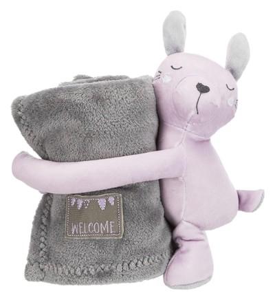 Trixie junior speelset deken en konijn grijs / lila