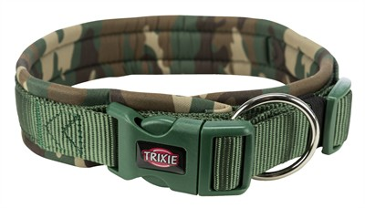Trixie halsband hond premium neopreen camouflage groen (42-48X2 CM)