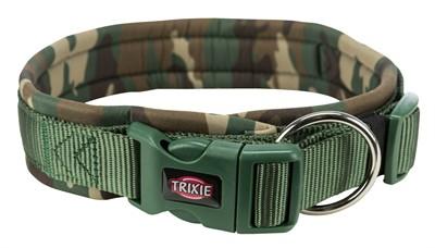 Trixie halsband hond premium neopreen camouflage groen (49-55X2,5 CM)