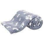 Trixie hondendeken kenny fleece bot / pootjes blauw (100X75 CM)