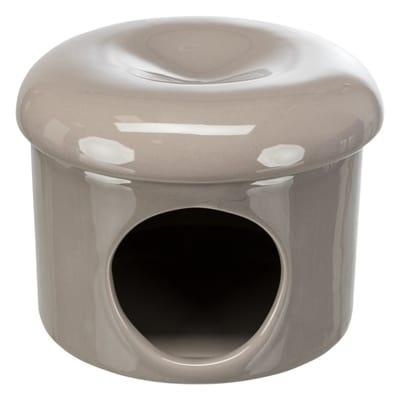 Trixie speelhuis muizen met deksel keramiek taupe (16X16X12 CM)