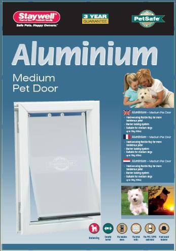 Petsafe hondenluik tot 18 kg aluminium wit (620)