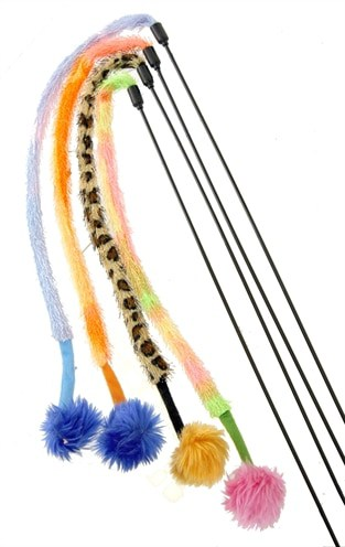 Kattenspeelgoed hengel/furry tail/pluche bal (107X4X4 CM)