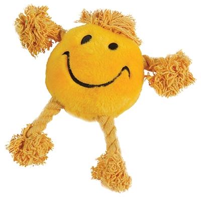 Happy pet happy faces pluche smiley geel (29X26X8 CM)