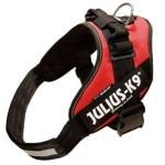 Julius k9 power-harnas/tuig voor labels rood (MAAT 1/66-81 CM)
