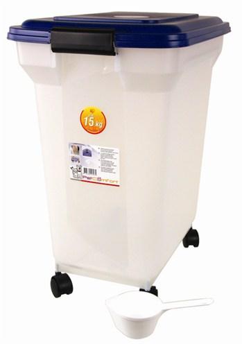 Bewaarcontainer luchtdicht transparant/blauw (45 LTR)