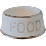 Voerbak hond food wit/zilver (18 CM)