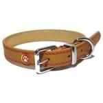 Luxury leather halsband hond leer luxe zand (1,9X36-46 CM)