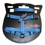 Bobby kattentuig en looplijn nylon reflecterend blauw (30X1 CM)