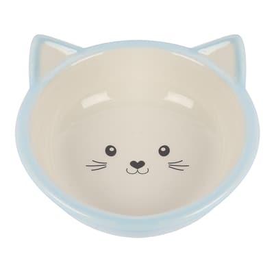 Happy pet voerbak kitten lichtblauw / creme (200 ML)