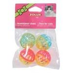 Zolux kattenspeelgoed bal met bel assorti (4 CM 4 ST)