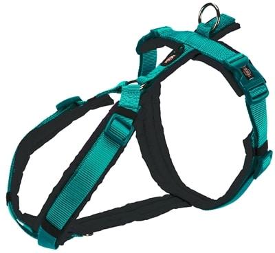 Trixie hondentuig premium trekking aqua blauw / grijs (62-74X2,5 CM)