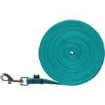 Trixie hondenriem sleeplijn met rubber turquoise (10 MTR X 1,5 CM)