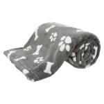 Trixie hondendeken kenny fleece bot / pootjes grijs (100X75 CM)