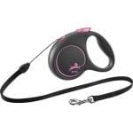 Flexi rollijn black design cord roze (S 5 MTR TOT 12 KG)