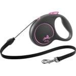 Flexi rollijn black design cord roze (M 5 MTR TOT 20 KG)