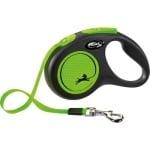 Flexi rollijn new neon tape zwart / neon groen (S 5 MTR TOT 15 KG)