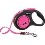 Flexi rollijn new neon tape zwart / neon roze (S 5 MTR TOT 15 KG)