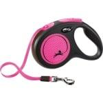 Flexi rollijn new neon tape zwart / neon roze (M 5 MTR TOT 25 KG)