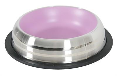 Zolux voerbak / drinkbak merenda rvs antislip roze (225 ML 15,5X15,5X3,5 CM)