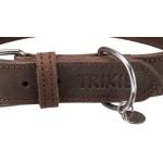 Trixie halsband hond rustic vetleer donkerbruin (27-34X1,8 CM)