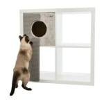 Trixie kattenmand voor kasten met krabplank grijs (33X37X70 CM)