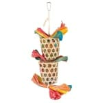 Trixie vogel natuurspeelgoed aan sisalkoord palmblad / maÏslies (35 CM)