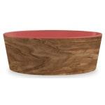 Tarhong voerbak hond olive melamine houtprint / sienna roze (15,5X15,5X5,5 CM 700 ML)