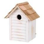 Trixie nestkastje huisje hout wit (18X15X24 CM GAT 3 CM)
